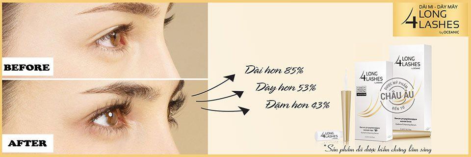 Minh họa: Trước và sau khi sử dụng sản phẩm Long4lashes